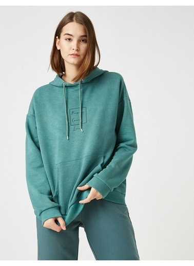 Koton Respect Life - Yasama Saygi - Pamuklu Kapüsonlu Yazili Baskili Sweatshirt Yeşil